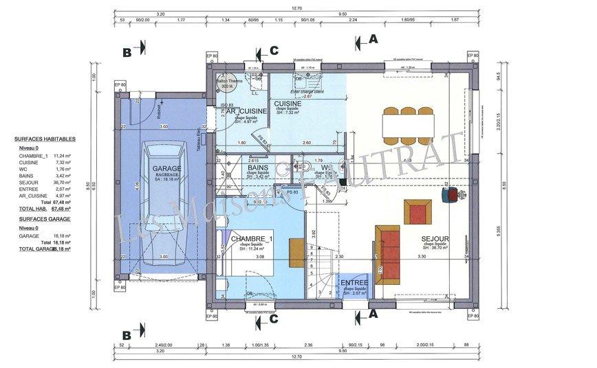 Projet de construction maison 115 m maison tage manche 50 for Projet de construction maison
