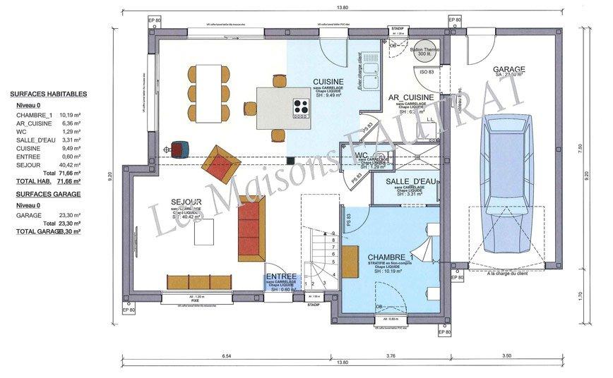 projet de construction maison 120 m² maison à étage manche 50